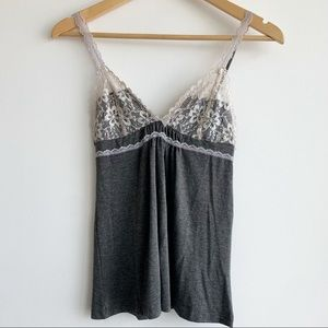 💕Sparkle & Fade Lace Grey and Cream Camisole XS